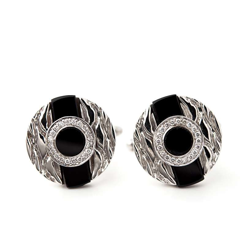 18k White Gold Black Onyx and Diamond Cufflinks